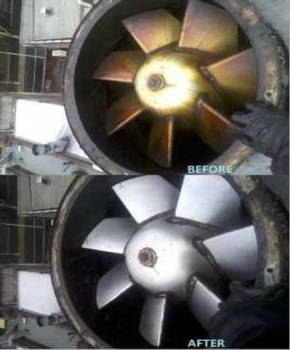 Commercial kitchen exhaust fan cleaning